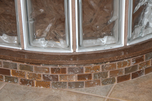 Granite curb cap with glittery subway tile detail