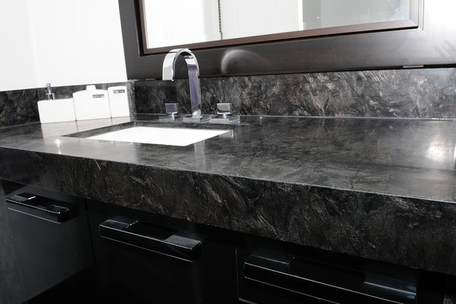 Granite quartzite marble quartz countertops contemporary - Black marble bathroom countertops ...