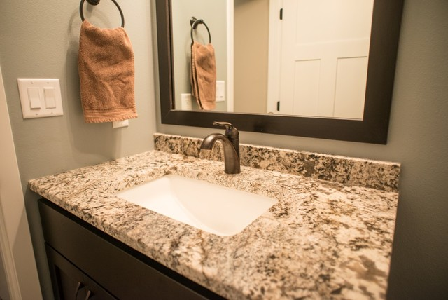 Granite   White Orion Kitchen With Pergamino And White Torroncino  Eclectic Bathroom