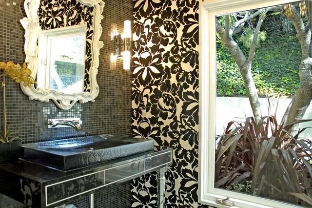 Graphic Powder Room eclectic-bathroom
