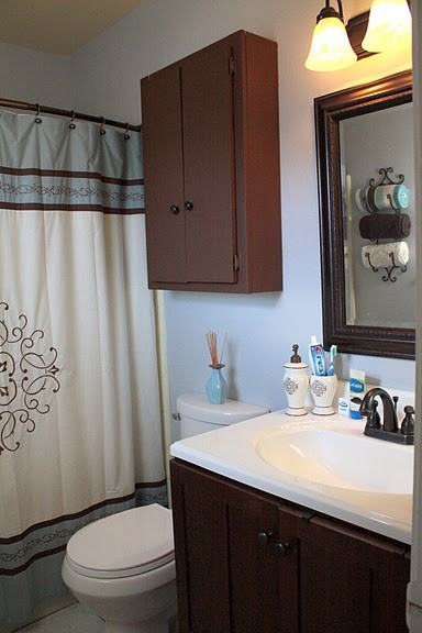 Grey and brown bathroom