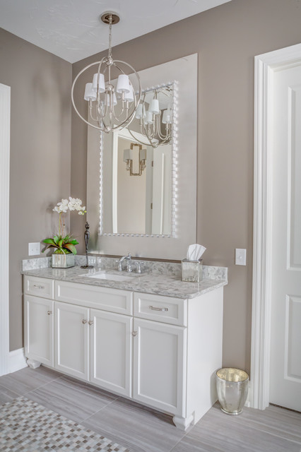 Gray And White Master Bathroom Country Bathroom