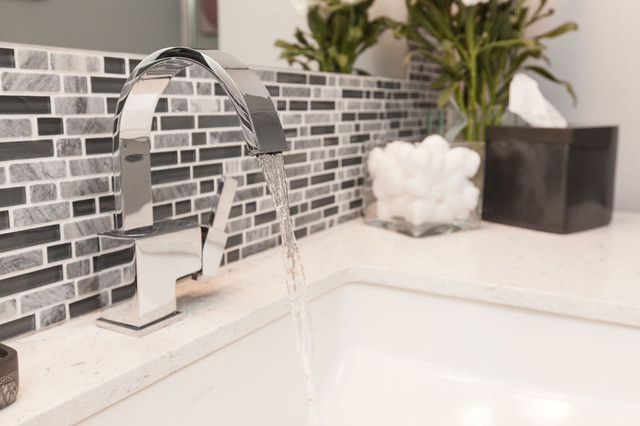 gray & white tile modern bathroom remodel - modern - bathroom