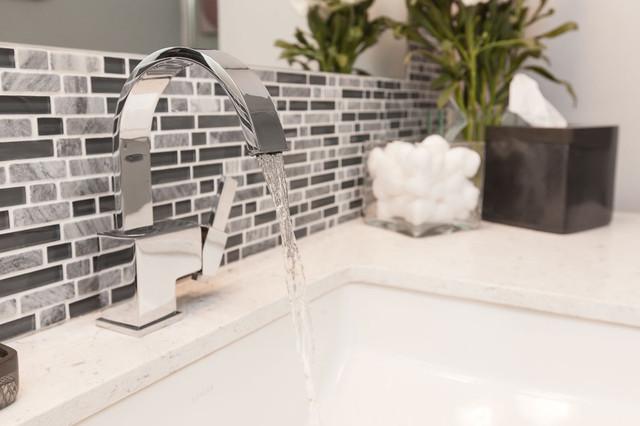 Elegant Modern Minimal Black White And Grey Tile Bath Contemporarybathroom
