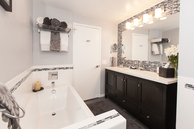 Modern Bathroom Remodels gray & white tile modern bathroom remodel - modern - bathroom