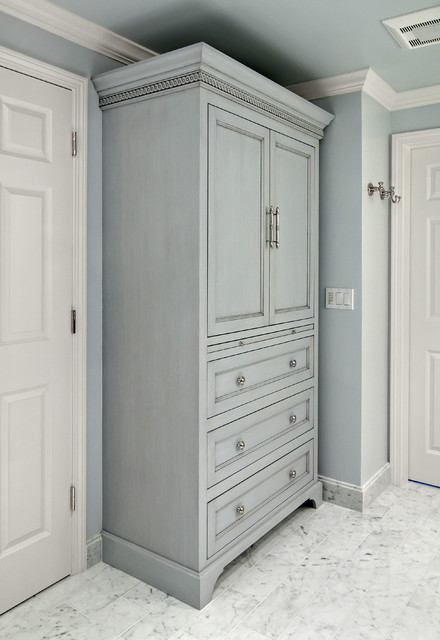Gray Glazed Linen Cabinet Traditional Bathroom