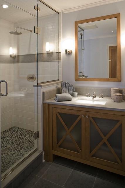 Gray Pebble Tile Shower Floor Modern Bathroom