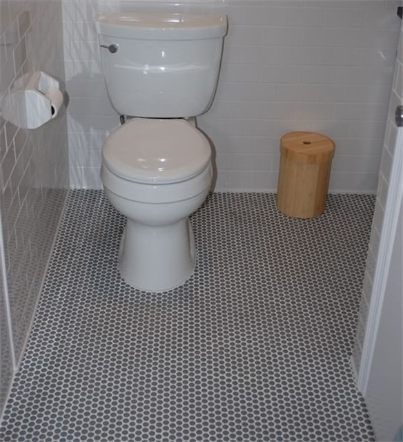 Grey Mosaic Bathroom Floor Tiles : Gray penny round porcelain mosaic tile floor pom