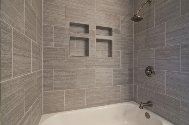 Gray tile horizontal contemporary bathroom other for Contemporary bathroom tiles