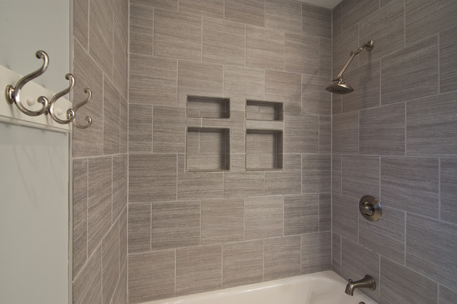 Awesome Gray Tile Horizontal Contemporary Bathroom Home Design Ideas