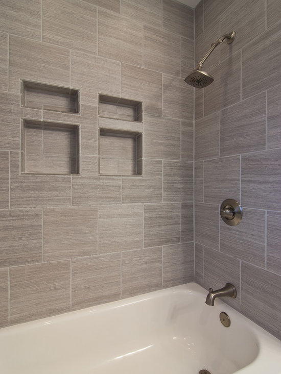 Gray tile horizontal with ikea cabinet tops for Bathtub tile remodel