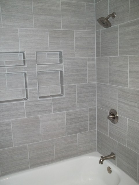 gray tile horizontal contemporary bathroom - Gray Tile Bathroom