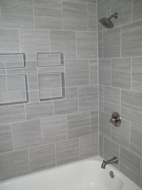 Gentil Gray Tile HorizontalContemporary Bathroom, Columbus