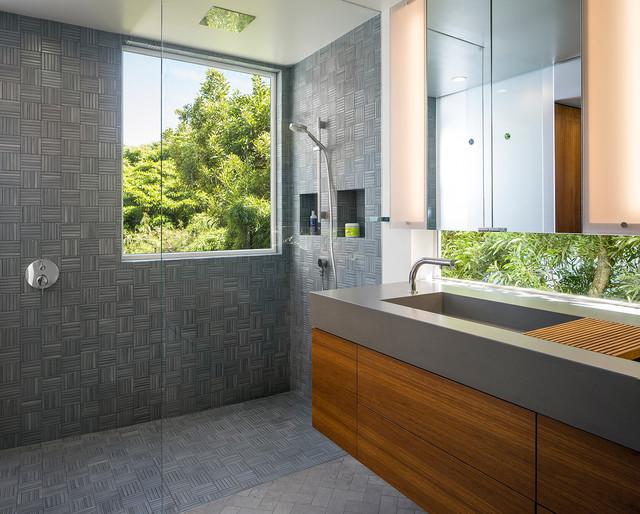 Gray tile master bathroom contemporary bathroom san for Master bathroom grey tile
