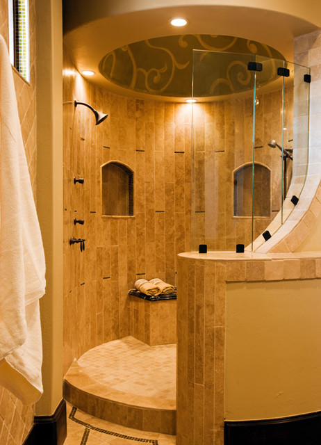Great bathrooms mediterranean austin by jenkins custom homes - Open shower bathroom design ...