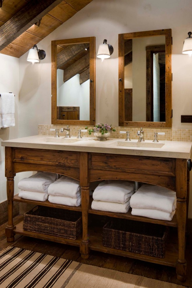 Inspiration for a rustic master beige tile and mosaic tile bathroom remodel in Other with open cabinets and dark wood cabinets