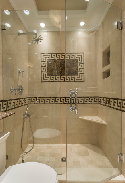 Greek Key Marble Bathroom Traditional
