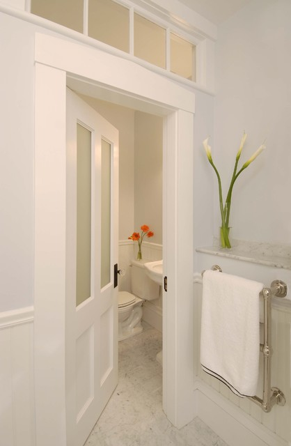 Greek Revival Bath With Transom Windows Traditional