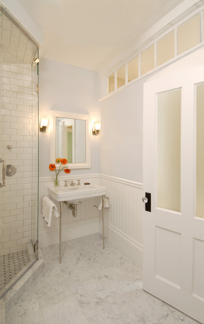 Greek Revival Bath with Transom Windows traditional-bathroom