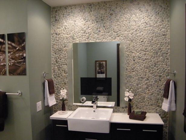 Green And White Pebble Bathroom Tile Modern Bathroom