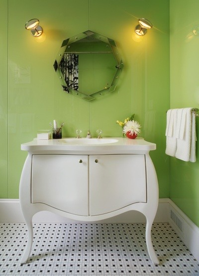 Green Bath w/ Bombe Lav contemporary bathroom