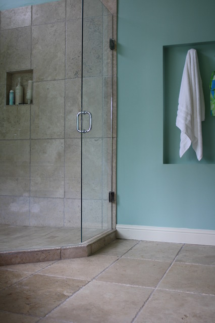 Green Glass Mosaic With Travertine Tile Traditional