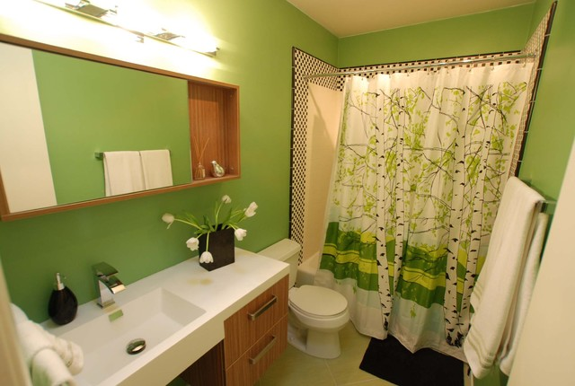 Green Guest Bath modern-bathroom