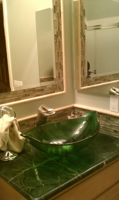 Exceptional Green Leaf Shaped Vessel Sink Tropical Bathroom