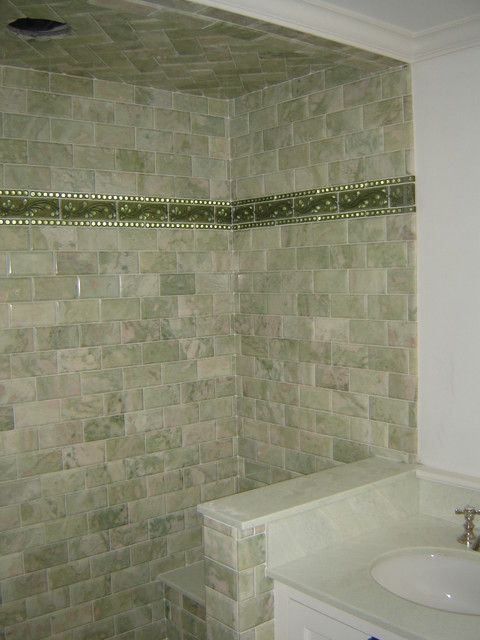 Green Marble Subway Tile Shower