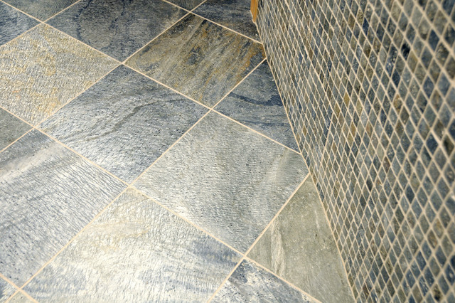 Green Mica Slate Tile Bathroom New York by Home Tile Design