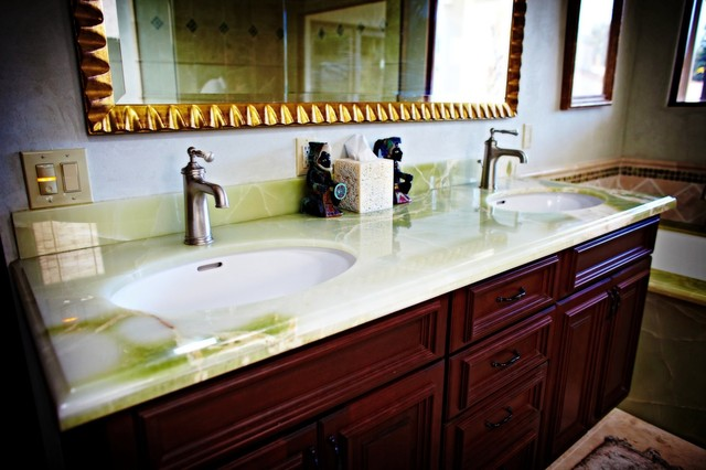 Green Onyx Vanity Top Traditional Bathroom Seattle