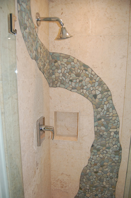 Amazing Pebble Floor Bathroom Design Ideas  Home Design Garden
