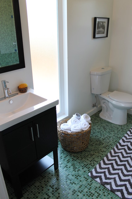 Green Tile Bathroom With Chevron Pattern Bath Rug And