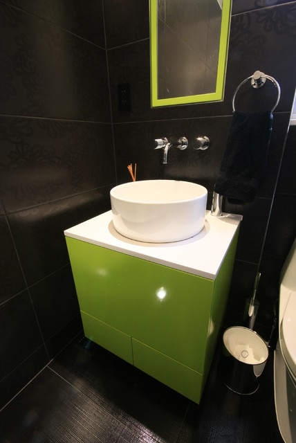 Green vanity contemporary-bathroom