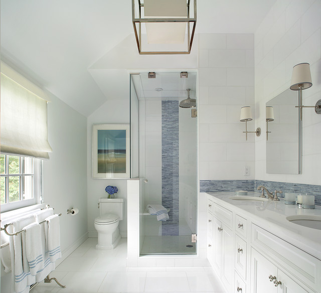 Example Of A Large Transitional Master Blue Tile And Matchstick Tile  Ceramic Floor Alcove Shower Design