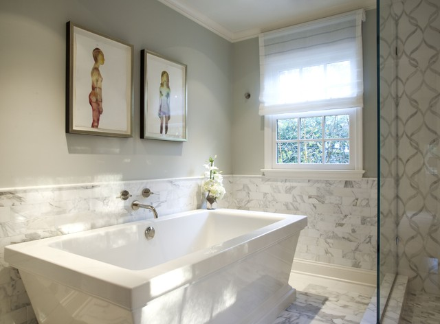 Greenwich modern tudor transitional bathroom by marks frantz interior design Interior design half bathroom
