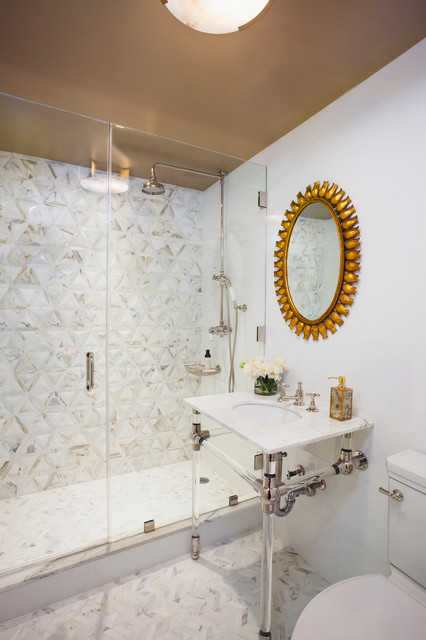 Small transitional 3/4 multicolored tile mosaic tile floor and white floor alcove shower photo in New York with a two-piece toilet, white walls, a console sink and a hinged shower door