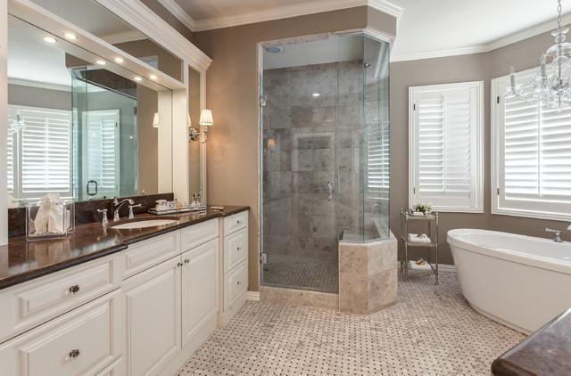Greenwood village master bath with freestanding soaking for Bathroom remodel greenwood in