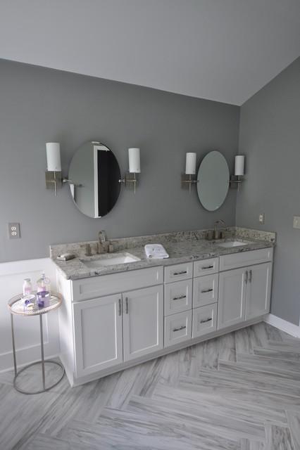 Grey White Transitional Bathroom Transitional