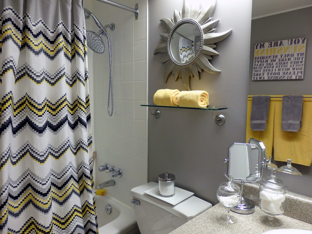 Grey and yellow bathroom contemporary bathroom for Yellow bathroom decor