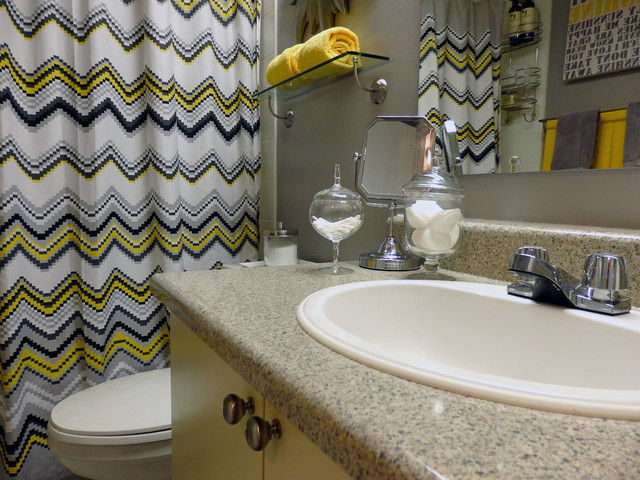 Bathroom Yellow And Gray grey and yellow bathroom - modern - bathroom - toronto -