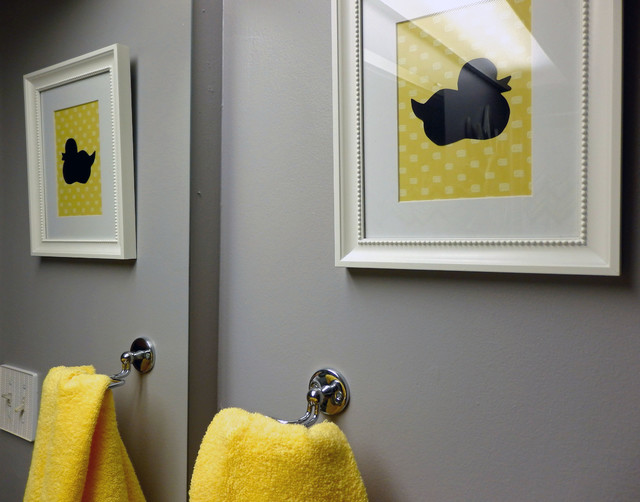 Grey and yellow bathroom modern bathroom toronto by dominika