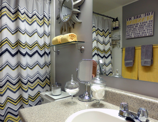 grey and yellow bathroom modern bathroom
