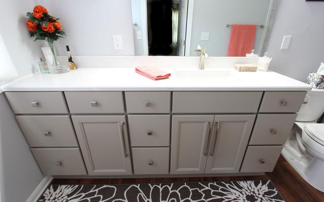 Grey Bathroom Vanity With Hamper Cabinet And Cambria