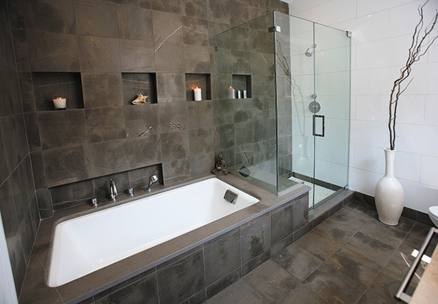 Grey Foussana Limestone Bathroom Contemporary