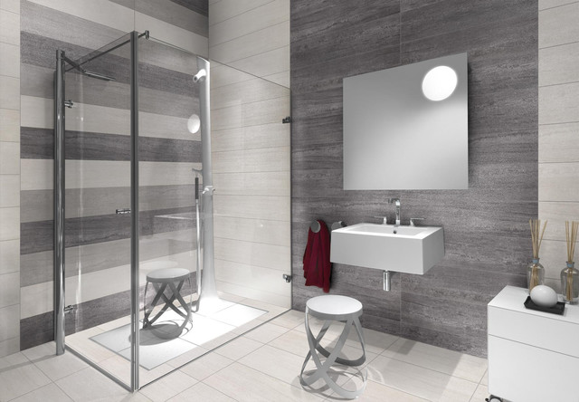 Bathroom Large Contemporary Gray Tile And Porcelain Floor Idea In Brisbane With