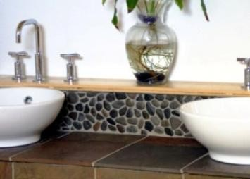 Grey Pebble Tile Wall Border Modern Bathroom