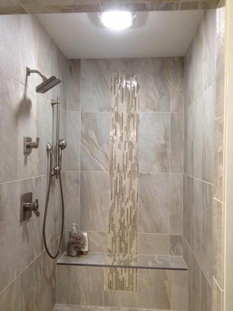 Grey Soldier Tile Contemporary Bathroom Indianapolis