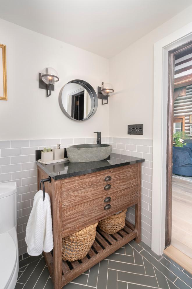 Grey Subway Tile And Herringbone Bathroom Traditional