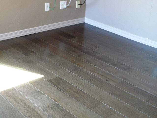 Grey wood and bathroom accent other metro by red earth for Grey wood floor bathroom
